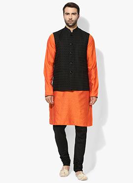Black N Orange Benarasi Cotton Silk Bandi Set