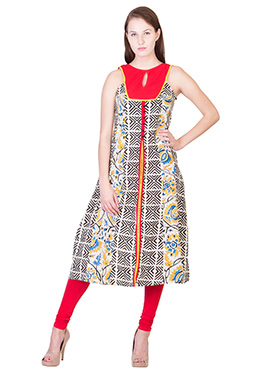 Black N Orange Blended Cotton Kurti