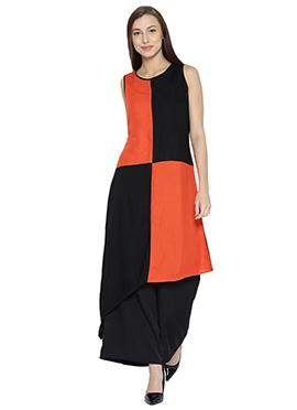 Black N Orange Cotton Kurti