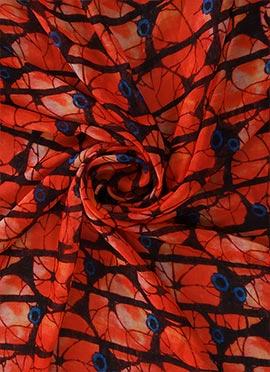 Black N Orange Digital Printed Paper Silk Fabric