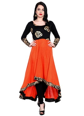Black N Orange Printed Long Kurti