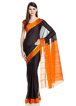 Black N Orange Pure Mysore Silk Saree