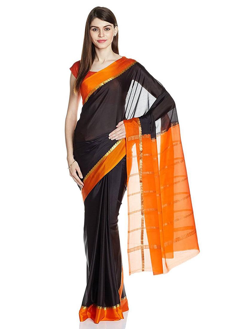 570b51e4ba5615 Buy Black N Orange Pure Mysore Silk Saree, Mysore , Zari, sari Online ...