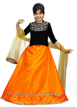 Black N Orange Velvet Kids A Line Lehenga