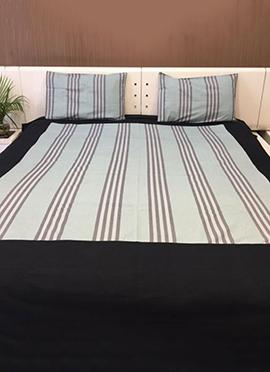 Black N Pale Blue Pure Cotton Bed Sheet