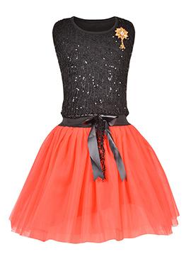 Black N Peach Net Kids Dress