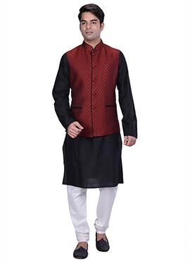 Black N Persian Red Benarasi Silk Cotton Bandi Set