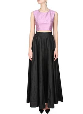 Black N Pink Art Silk Skirt Set