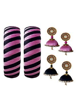 Black N Pink Bangles Combo