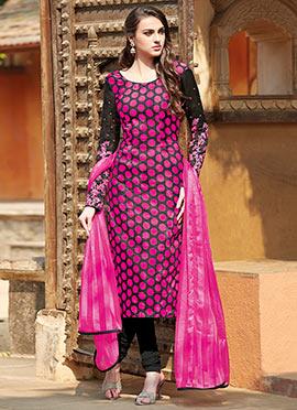 Black N Pink Churidar Suit