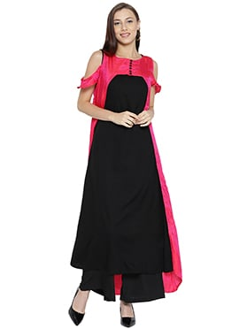 Black N Pink Cotton Art Silk Kurti