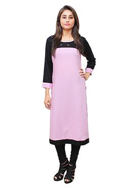 Black N Pink Cotton Rayon Kurti