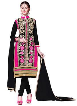 Black N Pink Embroidered Churidar Suit