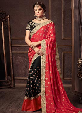 Black N Pink Embroidered Half N Half Saree