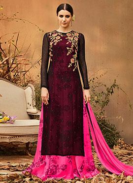 Black N Pink Georgette Abaya Style Anarkali Suit