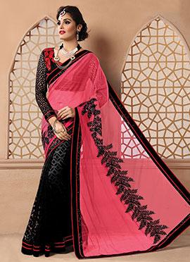 Black N Pink Half N Half Saree