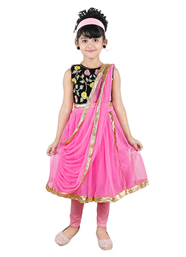 Black N Pink Kids Anarkali Suit