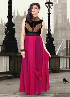 Black N Pink Lycra Velvet Gown