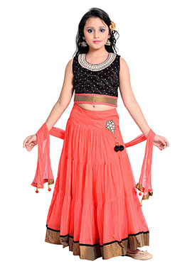 Black N Pink Net Kids Umbrella Lehenga