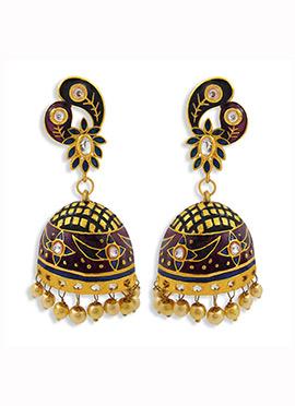 Black N Purple Beads Jhumka Earrings