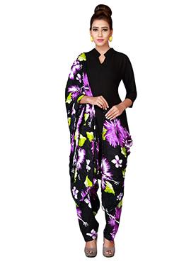 Black N Purple Cotton Semi Patiala Pant