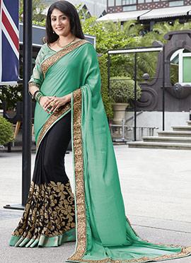 Black N Rama Green Half N Half Saree