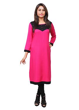 Black N Rani Pink Cotton Rayon Kurti