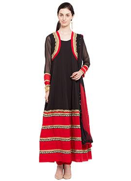 Black N Red Ankle Length Anarkali Suit