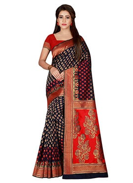Black N Red Art Benarasi Silk Saree