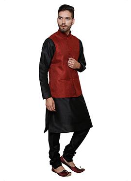 Black N Red Art Dupion Silk Bandi Set