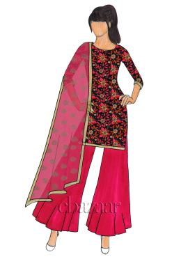 Black N Red Art Dupion Flared  Palazzo Suit