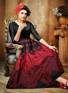 Black N Red Art Silk Anarkali Kurti