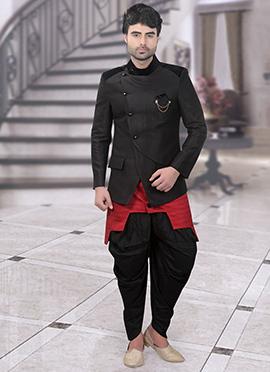 Black N Red Art Silk Indowestern Sherwani