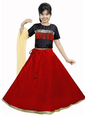 Black N Red Art Silk Kids A Line Lehenga
