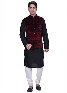 Black N Red Benarasi Silk Cotton Bandi Set