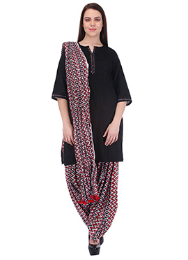 Black N Red Pure Cotton Patiala Suit