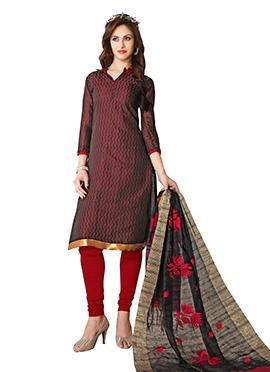 Black N Red Chevron Patterned Cotton Churidar Suit