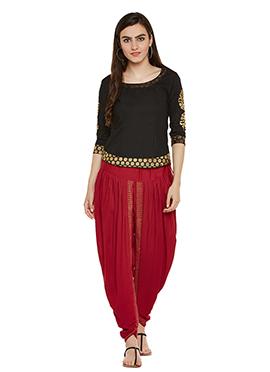 Black N Red Cotton Dhoti Set
