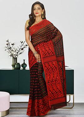 Black N Red Cotton Silk Jamdani Saree
