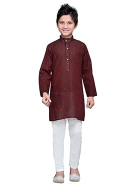 Black N Red Cotton Striped Boys Kurta Pyjama