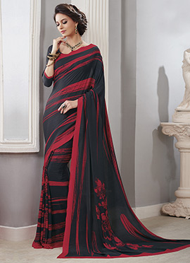Black N Red Crepe Silk Saree