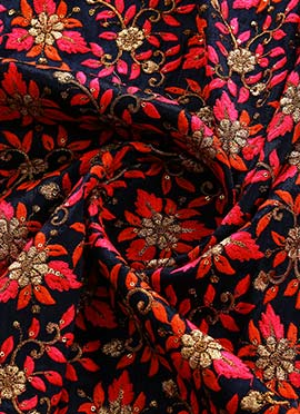 Black N Red Embroidered Art Dupion Silk Fabric