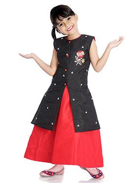 Black N Red Embroidered Kids Lehenga