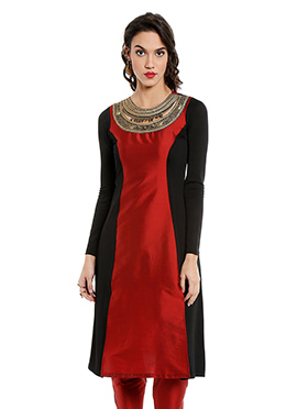 Black N Red Embroidered Long Kurti