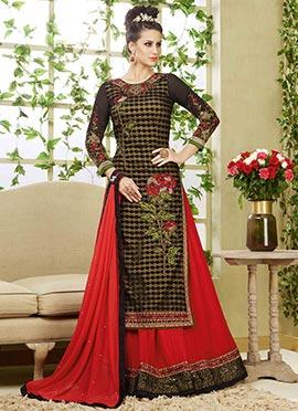 Black N Red Embroidered Net Long Choli Lehenga