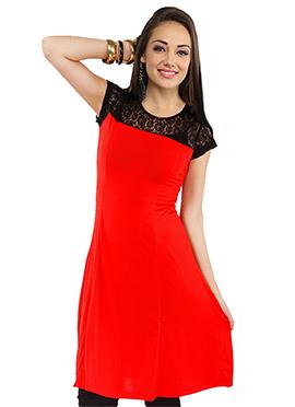 Irasoleil Black N Red Embroidered Top