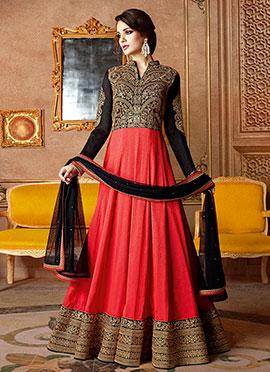 Black N Red Georgette Abaya Style Anarkali Suit