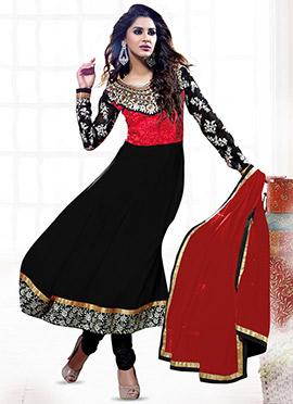 Black N Red Georgette Anarkali Suit