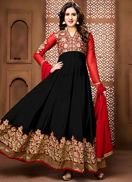 Black N Red Georgette Ankle Length Anarkali Suit