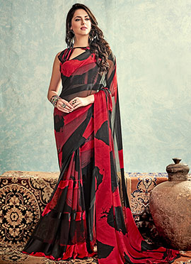 Black N Red Georgette Saree